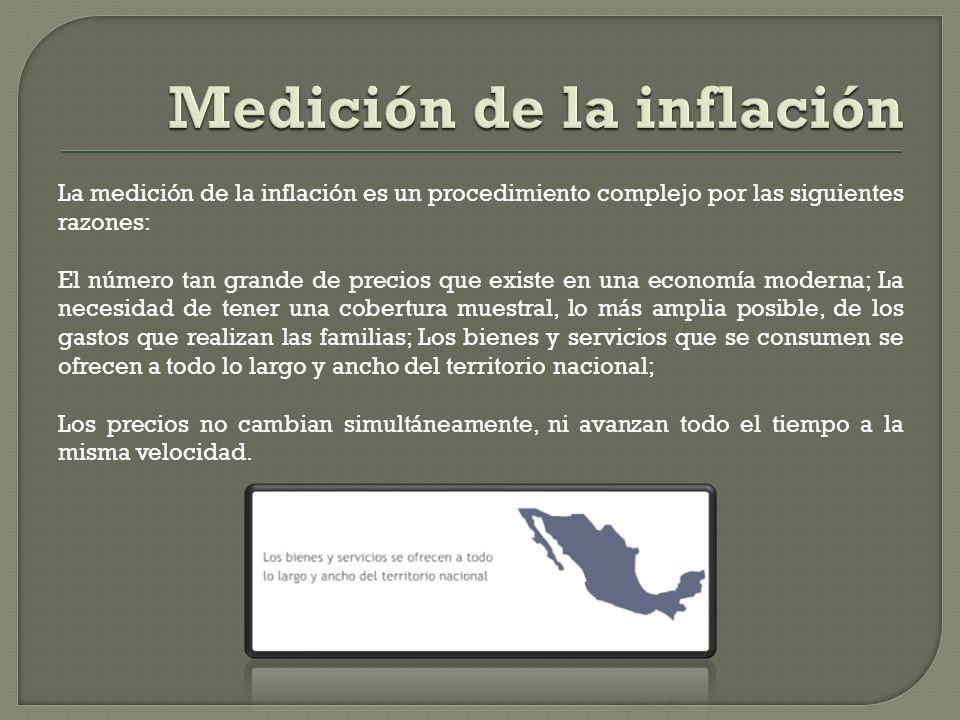 La medición de la inflación es un procedimiento complejo por las siguientes razones: El número tan grande de precios que existe en una economía modern