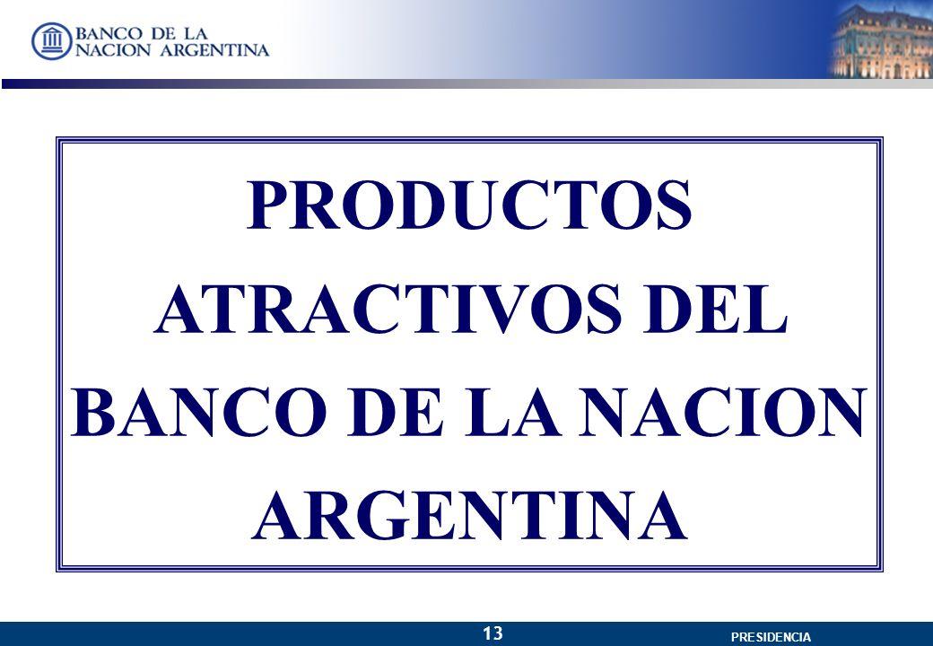 GERENCIA GENERAL PRESIDENCIA 13 PRODUCTOS ATRACTIVOS DEL BANCO DE LA NACION ARGENTINA