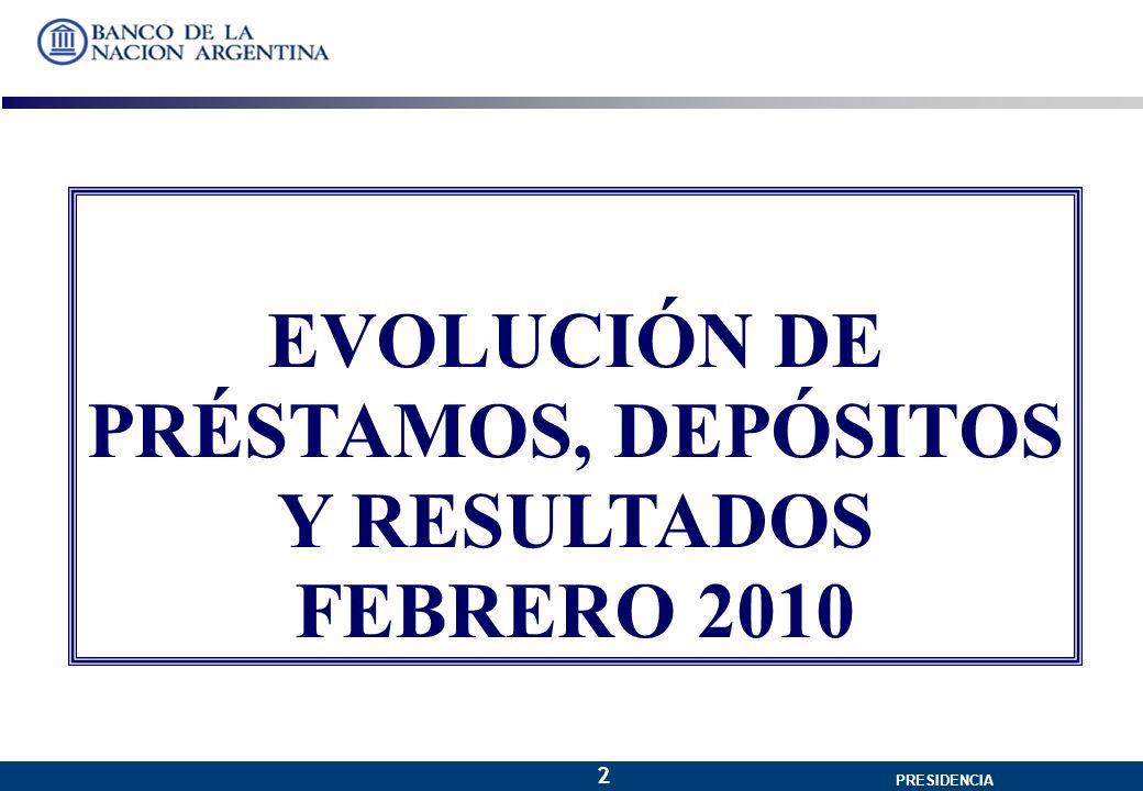 GERENCIA GENERAL PRESIDENCIA 2 EVOLUCIÓN DE PRÉSTAMOS, DEPÓSITOS Y RESULTADOS FEBRERO 2010