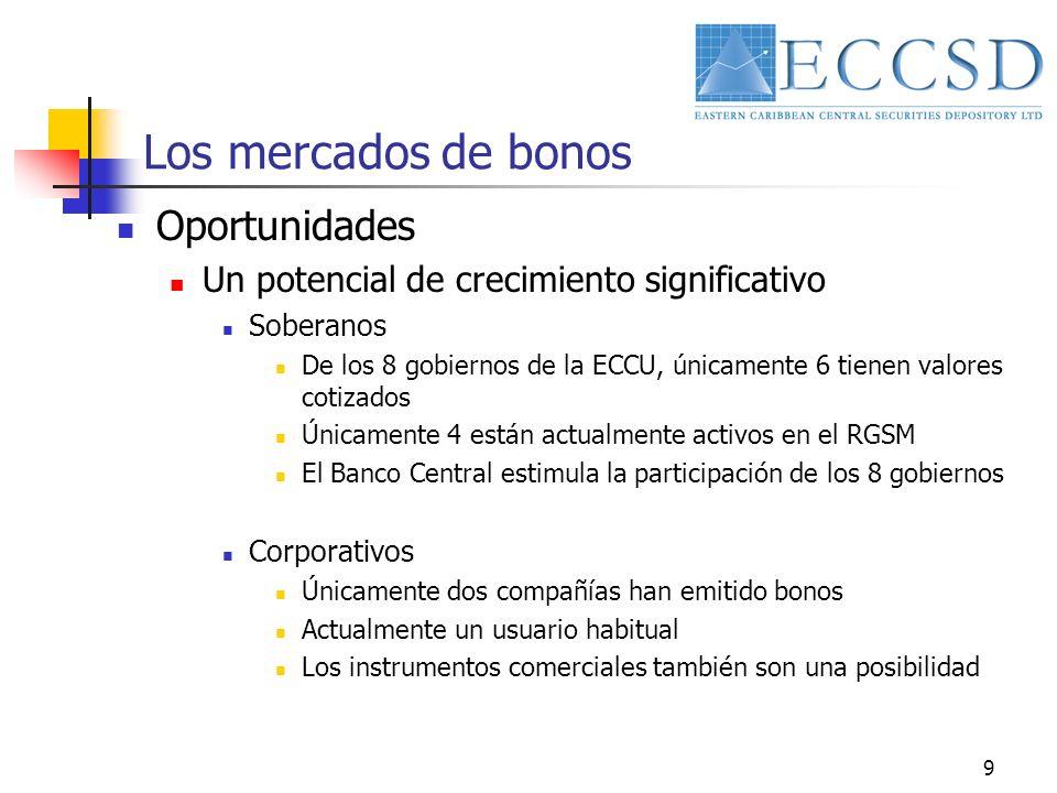 9 Los mercados de bonos Oportunidades Un potencial de crecimiento significativo Soberanos De los 8 gobiernos de la ECCU, únicamente 6 tienen valores c