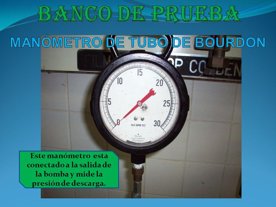 Este manómetro esta conectado a la salida de la bomba y mide la presión de descarga.