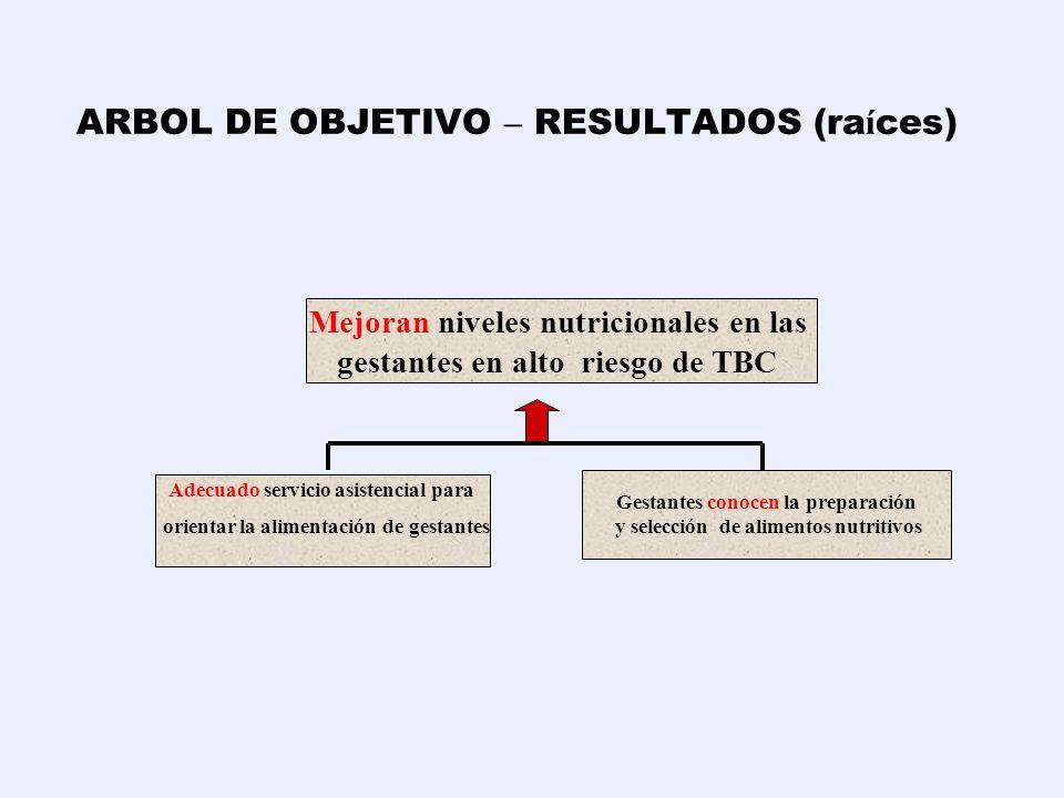 ARBOL DE OBJETIVO – RESULTADOS (ra í ces) B. Adecuado servicio asistencial para orientar la alimentación de gestantes C. Gestantes conocen la preparac