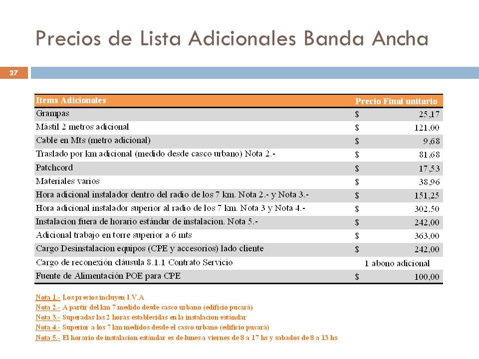 Precios de Lista Adicionales Banda Ancha 27