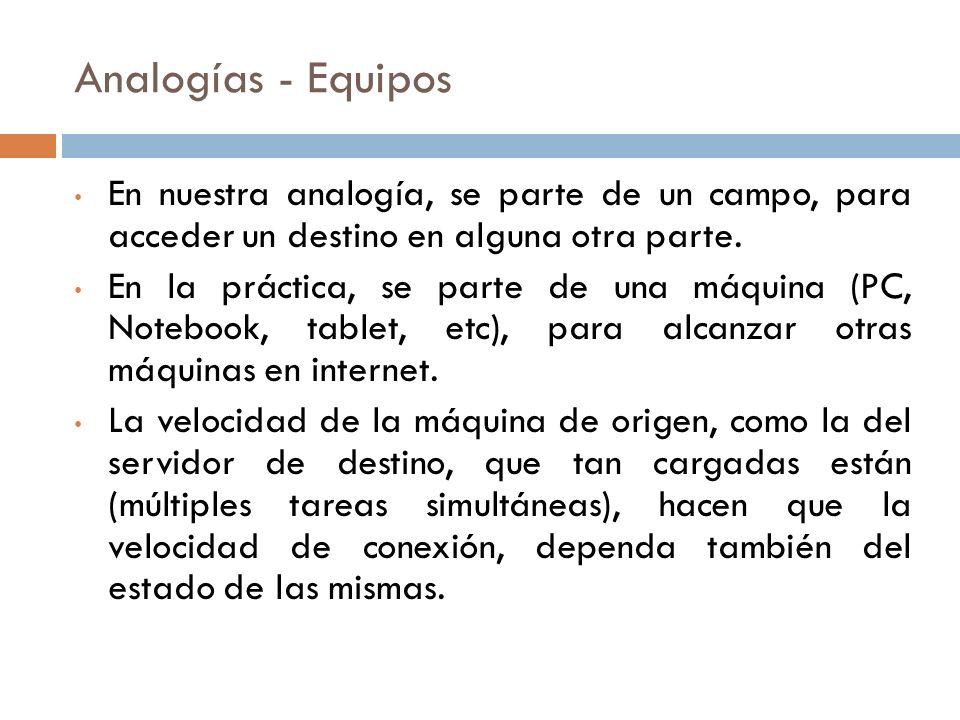 Analogías - Equipos En nuestra analogía, se parte de un campo, para acceder un destino en alguna otra parte.