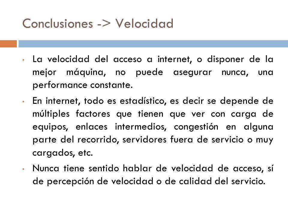 Conclusiones -> Velocidad La velocidad del acceso a internet, o disponer de la mejor máquina, no puede asegurar nunca, una performance constante.