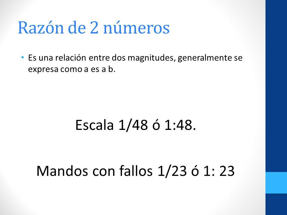 Razón de 2 números Es una relación entre dos magnitudes, generalmente se expresa como a es a b. Escala 1/48 ó 1:48. Mandos con fallos 1/23 ó 1: 23