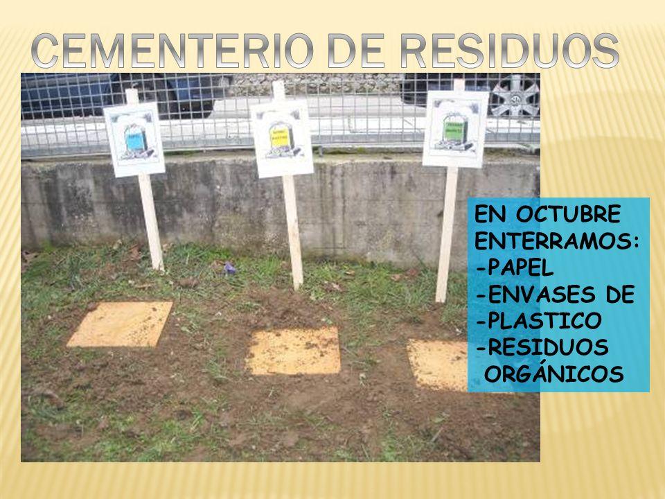 EN OCTUBRE ENTERRAMOS: -PAPEL -ENVASES DE -PLASTICO -RESIDUOS ORGÁNICOS