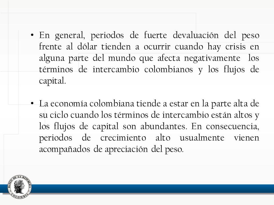 En general, periodos de fuerte devaluación del peso frente al dólar tienden a ocurrir cuando hay crisis en alguna parte del mundo que afecta negativamente los términos de intercambio colombianos y los flujos de capital.