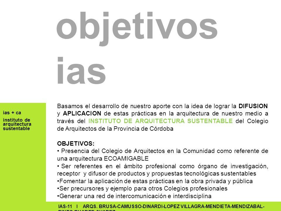 ias + ca instituto de arquitectura sustentable IAS-11 I ARQS. BRUSA-CAMUSSO-DINARDI-LOPEZ VILLAGRA-MENDIETA-MENDIZABAL- PINTO-RUARTE-SUAREZ objetivos