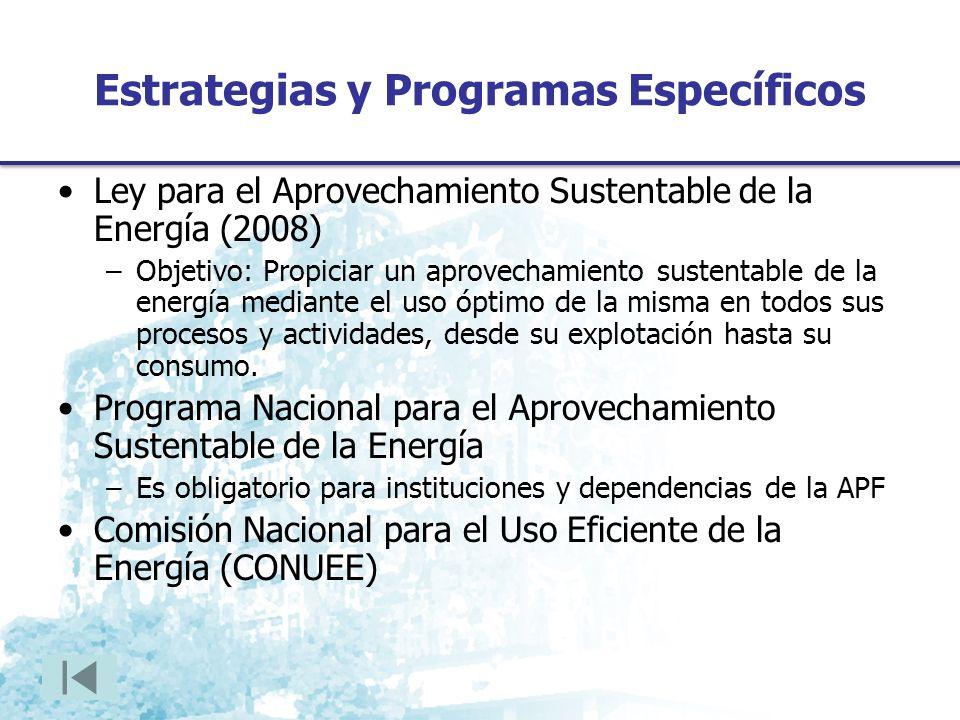 Estrategias y Programas Específicos Ley para el Aprovechamiento Sustentable de la Energía (2008) –Objetivo: Propiciar un aprovechamiento sustentable de la energía mediante el uso óptimo de la misma en todos sus procesos y actividades, desde su explotación hasta su consumo.