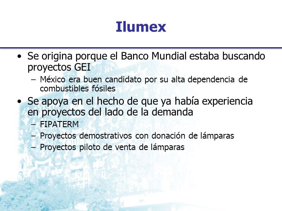 Ilumex Se origina porque el Banco Mundial estaba buscando proyectos GEI –México era buen candidato por su alta dependencia de combustibles fósiles Se apoya en el hecho de que ya había experiencia en proyectos del lado de la demanda –FIPATERM –Proyectos demostrativos con donación de lámparas –Proyectos piloto de venta de lámparas