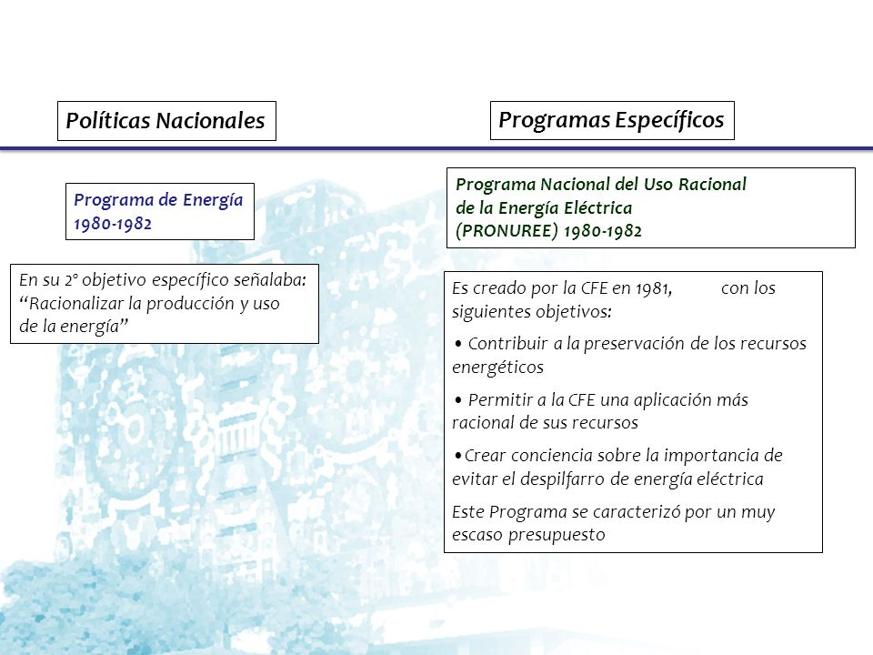 Programa Nacional de Energéticos 1984-1988 El Programa Nacional del Uso Racional de la Energía Eléctrica de la CFE, se mantiene En su 4º objetivo específico señalaba: Ahorrar energía y promover su uso eficiente Se crea el: Programa de Conservación y Ahorro de Energía de PEMEX (PROCAE) 1984-1989 Objetivo: reducir el consumo de energía de todas las actividades de PEMEX En sus primeros años se lograron resultados importantes.