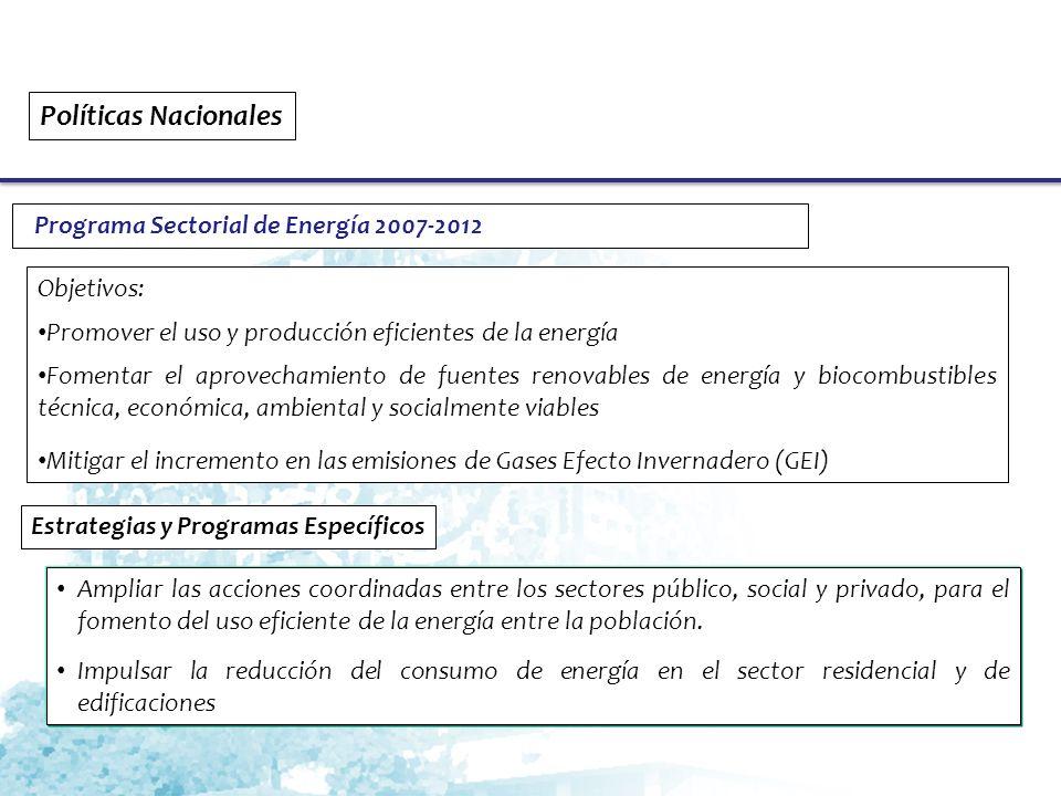 Políticas Nacionales Programa Sectorial de Energía 2007-2012 Objetivos: Promover el uso y producción eficientes de la energía Fomentar el aprovechamiento de fuentes renovables de energía y biocombustibles técnica, económica, ambiental y socialmente viables Mitigar el incremento en las emisiones de Gases Efecto Invernadero (GEI) Estrategias y Programas Específicos Ampliar las acciones coordinadas entre los sectores público, social y privado, para el fomento del uso eficiente de la energía entre la población.