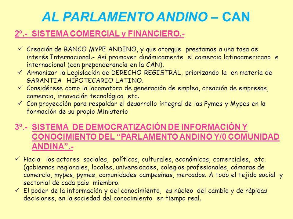 AL PARLAMENTO ANDINO – CAN Unidad logro Bolívar Impulsados por los pueblos Grandes luchas tuvo que forjar… en procura de La Libertad, Unidad y Justici