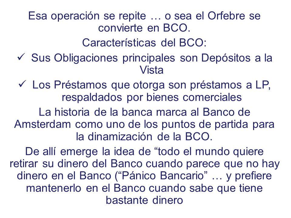 Esa operación se repite … o sea el Orfebre se convierte en BCO. Características del BCO: Sus Obligaciones principales son Depósitos a la Vista Los Pré
