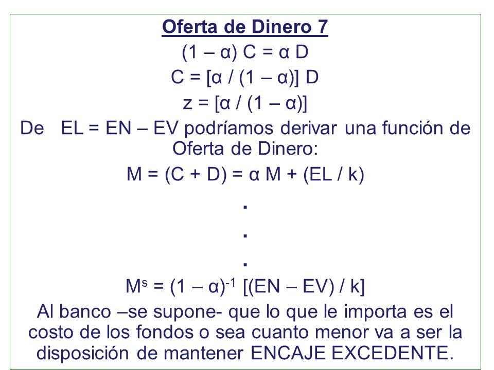 Oferta de Dinero 7 (1 – α) C = α D C = [α / (1 – α)] D z = [α / (1 – α)] De EL = EN – EV podríamos derivar una función de Oferta de Dinero: M = (C + D