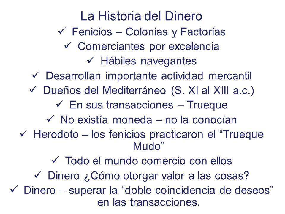 La Historia del Dinero Fenicios – Colonias y Factorías Comerciantes por excelencia Hábiles navegantes Desarrollan importante actividad mercantil Dueño