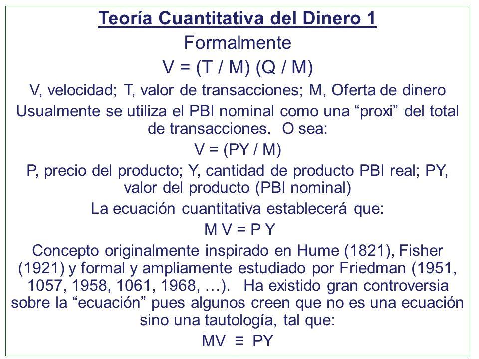 Teoría Cuantitativa del Dinero 1 Formalmente V = (T / M) (Q / M) V, velocidad; T, valor de transacciones; M, Oferta de dinero Usualmente se utiliza el