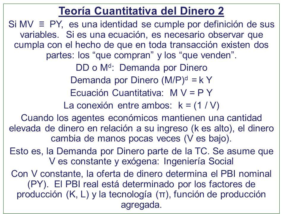 Teoría Cuantitativa del Dinero 2 Si MV PY, es una identidad se cumple por definición de sus variables. Si es una ecuación, es necesario observar que c