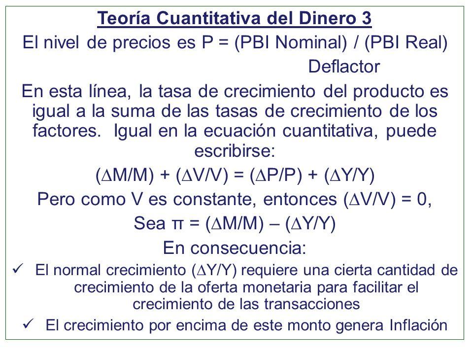 Teoría Cuantitativa del Dinero 3 El nivel de precios es P = (PBI Nominal) / (PBI Real) Deflactor En esta línea, la tasa de crecimiento del producto es