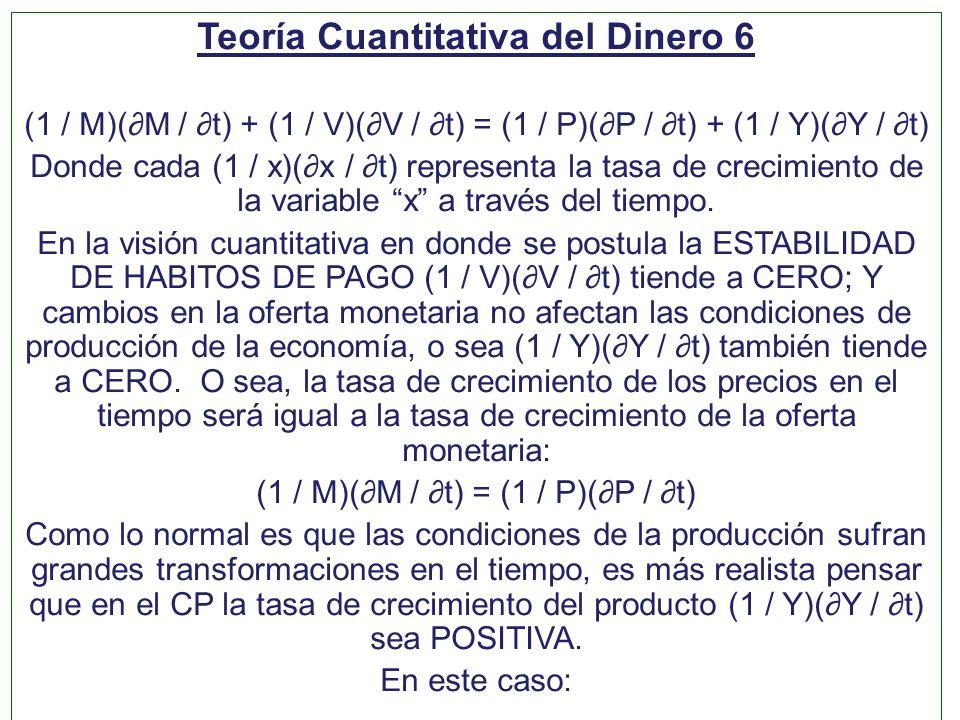 Teoría Cuantitativa del Dinero 6 (1 / M)(M / t) + (1 / V)(V / t) = (1 / P)(P / t) + (1 / Y)(Y / t) Donde cada (1 / x)(x / t) representa la tasa de cre