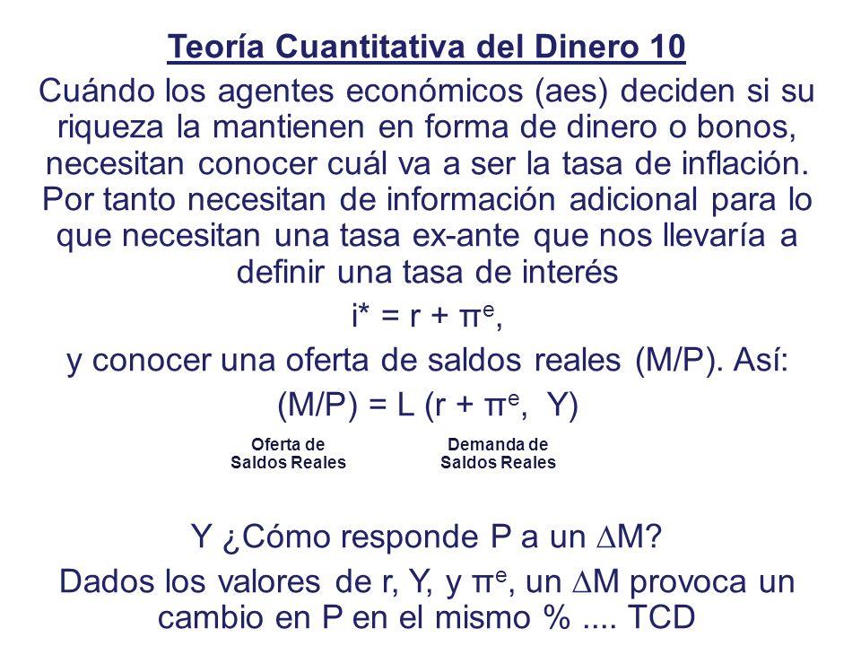 Teoría Cuantitativa del Dinero 10 Cuándo los agentes económicos (aes) deciden si su riqueza la mantienen en forma de dinero o bonos, necesitan conocer