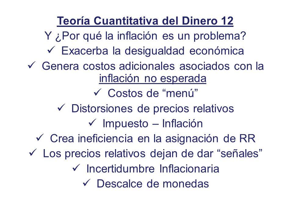 Teoría Cuantitativa del Dinero 12 Y ¿Por qué la inflación es un problema? Exacerba la desigualdad económica Genera costos adicionales asociados con la