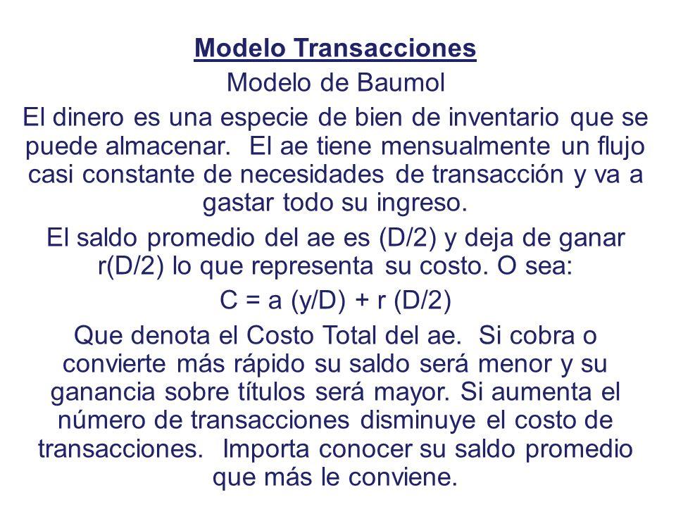 Modelo Transacciones Modelo de Baumol El dinero es una especie de bien de inventario que se puede almacenar. El ae tiene mensualmente un flujo casi co