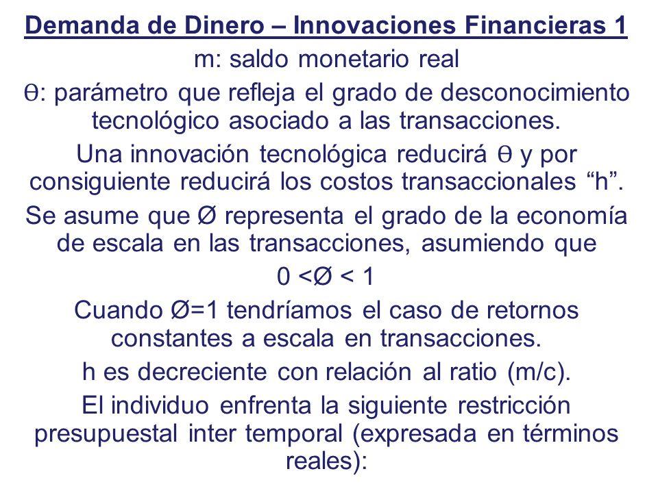 Demanda de Dinero – Innovaciones Financieras 1 m: saldo monetario real Ɵ : parámetro que refleja el grado de desconocimiento tecnológico asociado a la