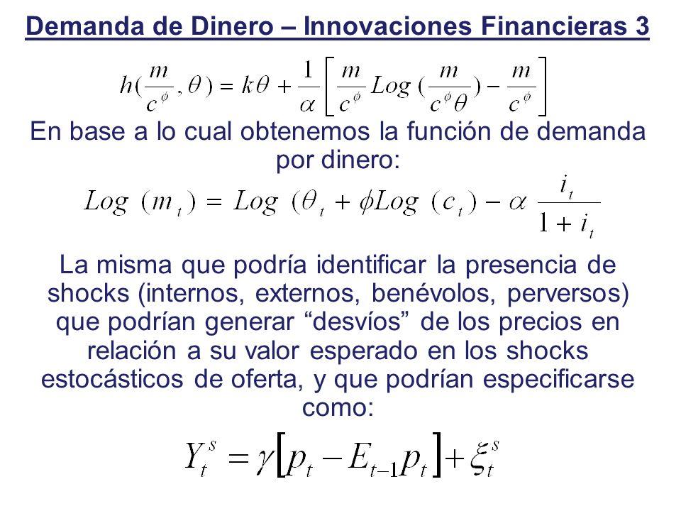 Demanda de Dinero – Innovaciones Financieras 3 En base a lo cual obtenemos la función de demanda por dinero: La misma que podría identificar la presen