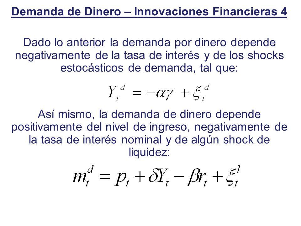 Demanda de Dinero – Innovaciones Financieras 4 Dado lo anterior la demanda por dinero depende negativamente de la tasa de interés y de los shocks esto