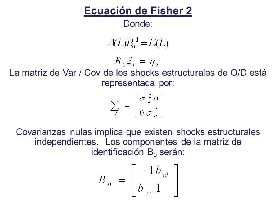 Ecuación de Fisher 2 Donde: La matriz de Var / Cov de los shocks estructurales de O/D está representada por: Covarianzas nulas implica que existen sho