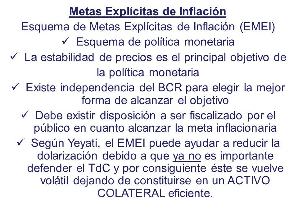 Metas Explícitas de Inflación Esquema de Metas Explícitas de Inflación (EMEI) Esquema de política monetaria La estabilidad de precios es el principal