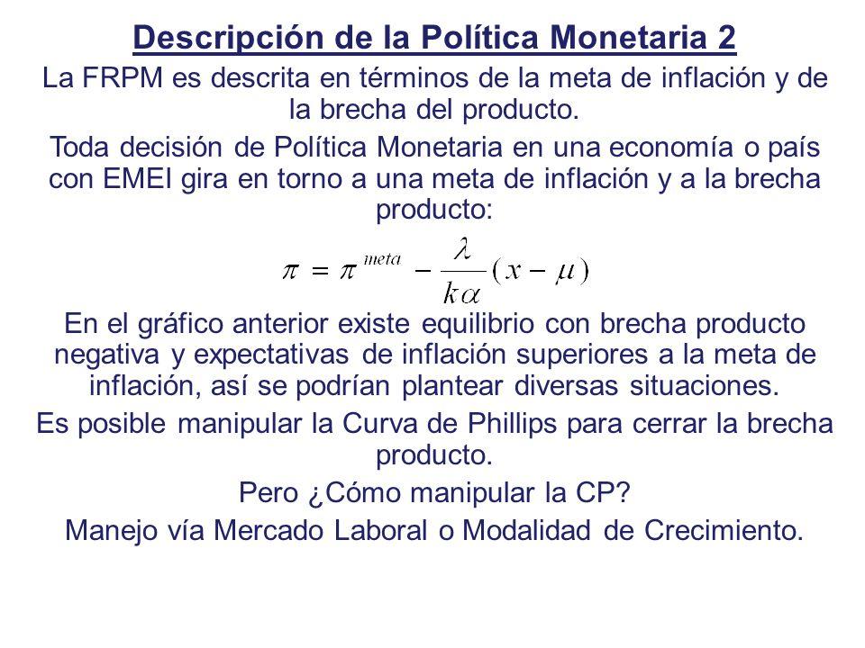 Descripción de la Política Monetaria 2 La FRPM es descrita en términos de la meta de inflación y de la brecha del producto. Toda decisión de Política