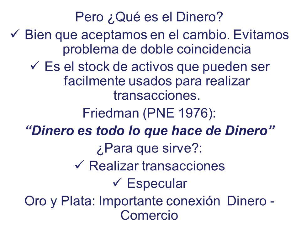 Oferta de Dinero 3 Aparece como pertinente la idea del Multiplicador Monetario: m = (M / B) Relación entre MASA y BASE monetaria Los bancos se supone que mantienen una Reserva o encaje: E = k D Donde k: tasa efectiva de encaje El público se supone que mantiene una relación z = (C / D) Así: m = [(C + D) / (C + E)] … o sea: