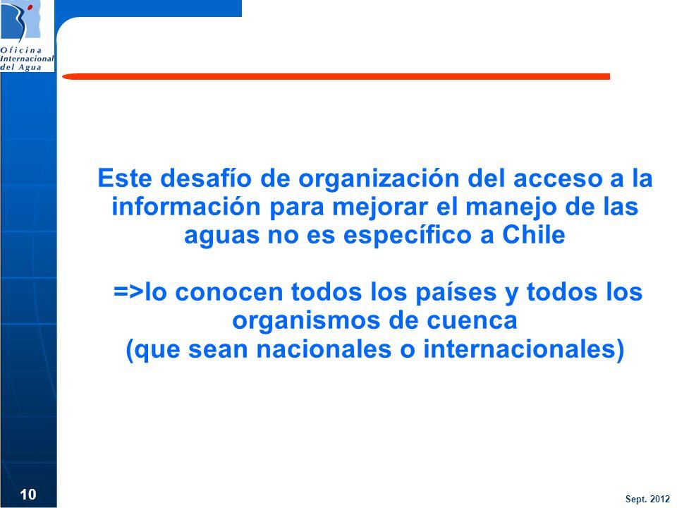 Sept. 2012 Este desafío de organización del acceso a la información para mejorar el manejo de las aguas no es específico a Chile =>lo conocen todos lo