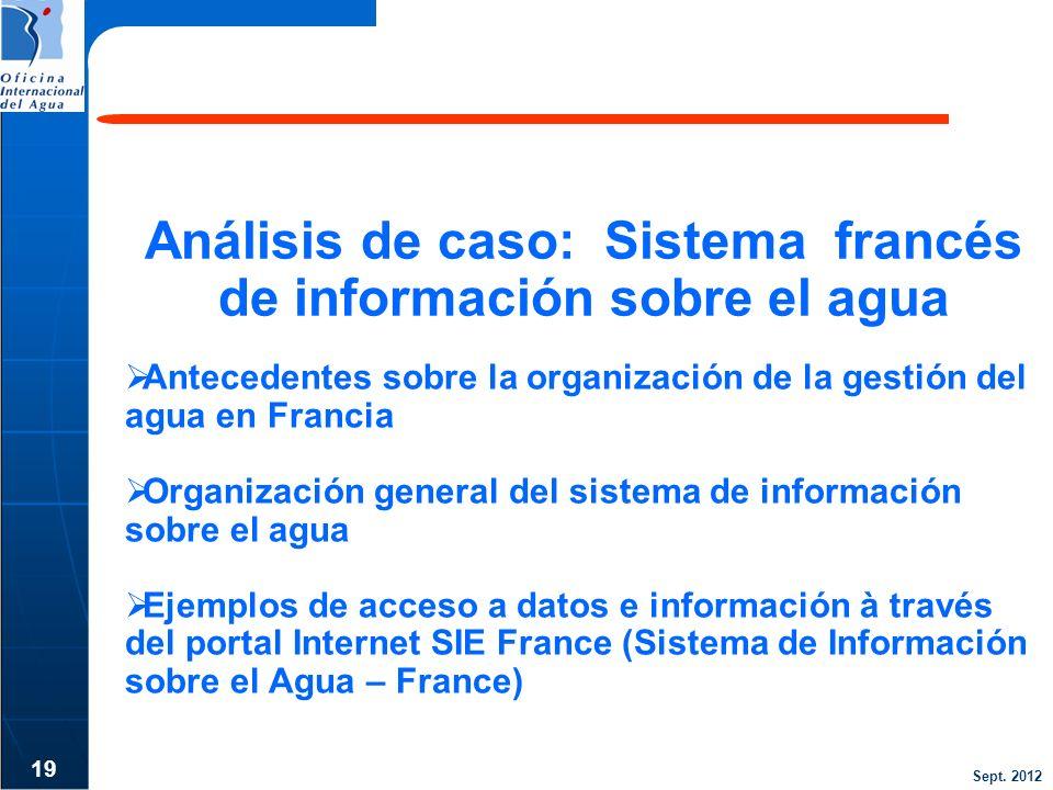 Sept. 2012 Análisis de caso: Sistema francés de información sobre el agua 19 Antecedentes sobre la organización de la gestión del agua en Francia Orga