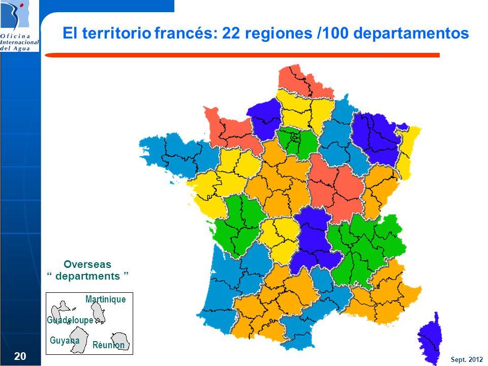 Sept. 2012 20 El territorio francés: 22 regiones /100 departamentos Overseas departments Guyana Guadeloupe Martinique Réunion