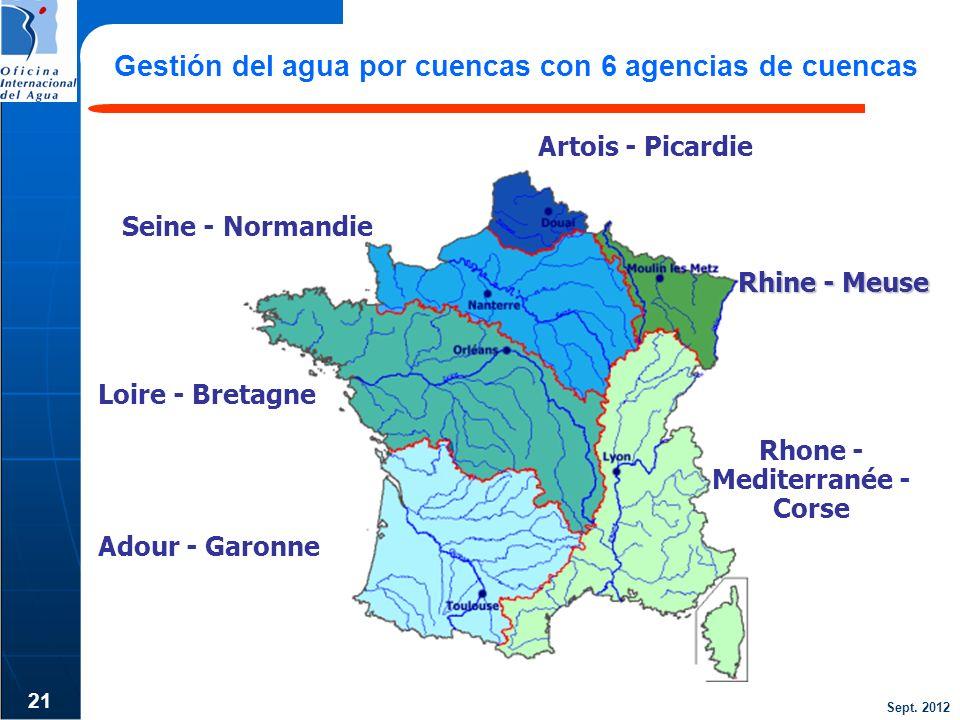 Sept. 2012 21 Gestión del agua por cuencas con 6 agencias de cuencas Rhine - Meuse Loire - Bretagne Seine - Normandie Adour - Garonne Rhone - Mediterr