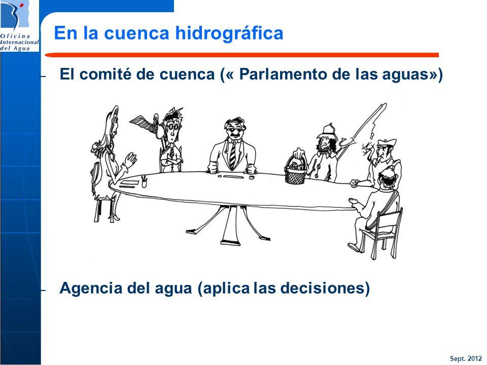 Sept. 2012 23 – El comité de cuenca (« Parlamento de las aguas») – Agencia del agua (aplica las decisiones) En la cuenca hidrográfica
