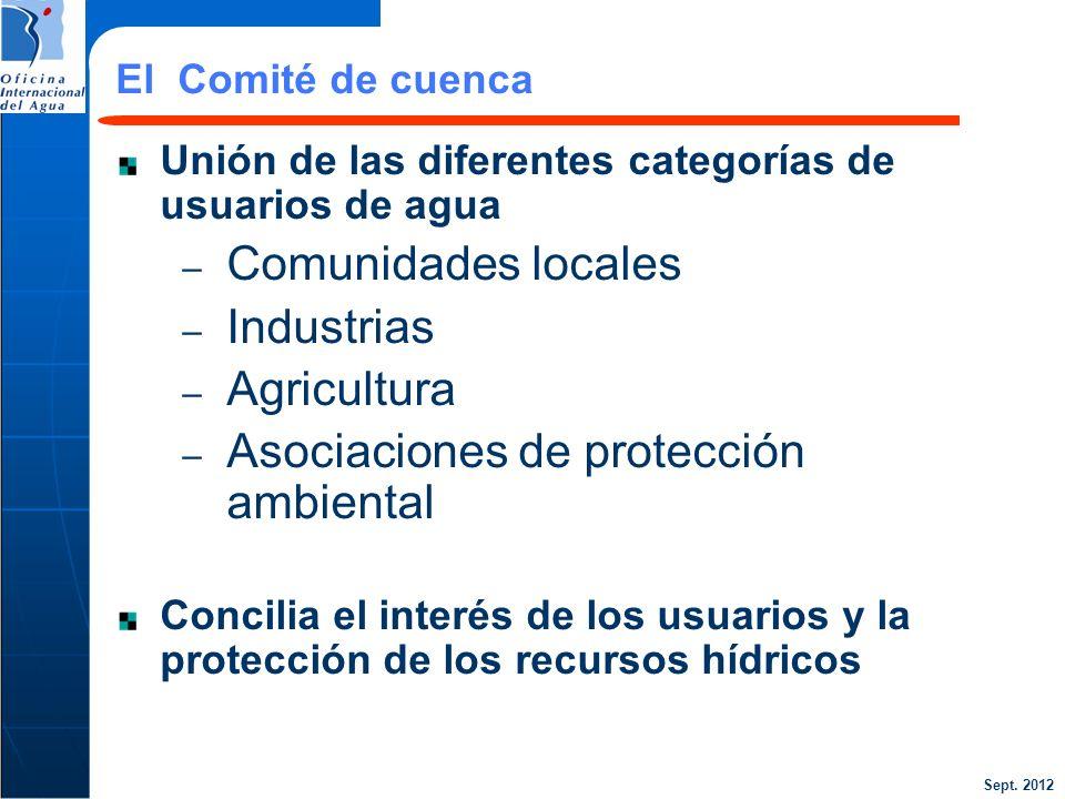 Sept. 2012 24 Unión de las diferentes categorías de usuarios de agua – Comunidades locales – Industrias – Agricultura – Asociaciones de protección amb
