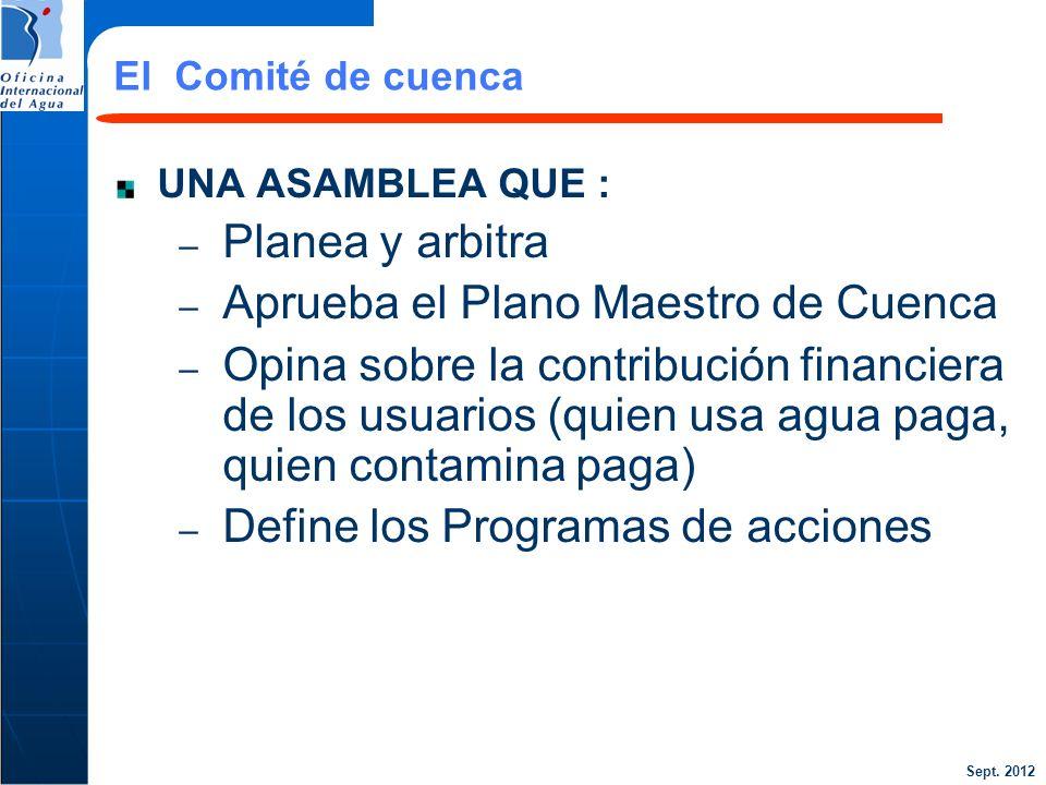 Sept. 2012 25 UNA ASAMBLEA QUE : – Planea y arbitra – Aprueba el Plano Maestro de Cuenca – Opina sobre la contribución financiera de los usuarios (qui