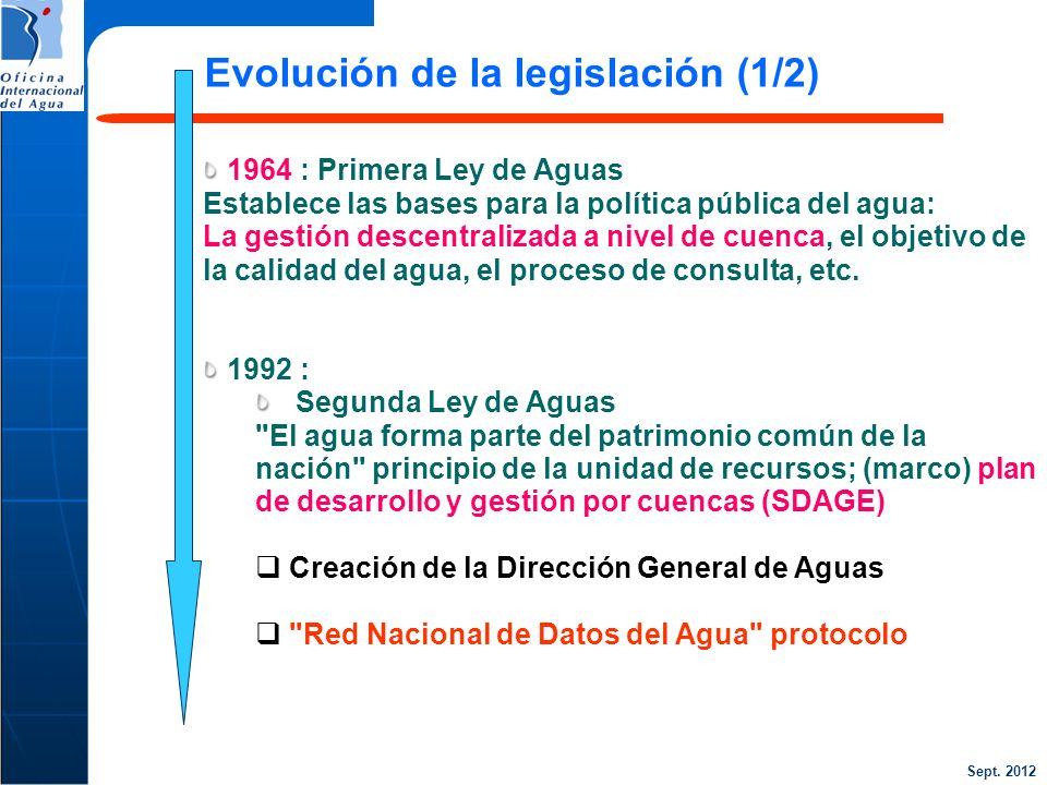 Sept. 2012 1964 : Primera Ley de Aguas Establece las bases para la política pública del agua: La gestión descentralizada a nivel de cuenca, el objetiv