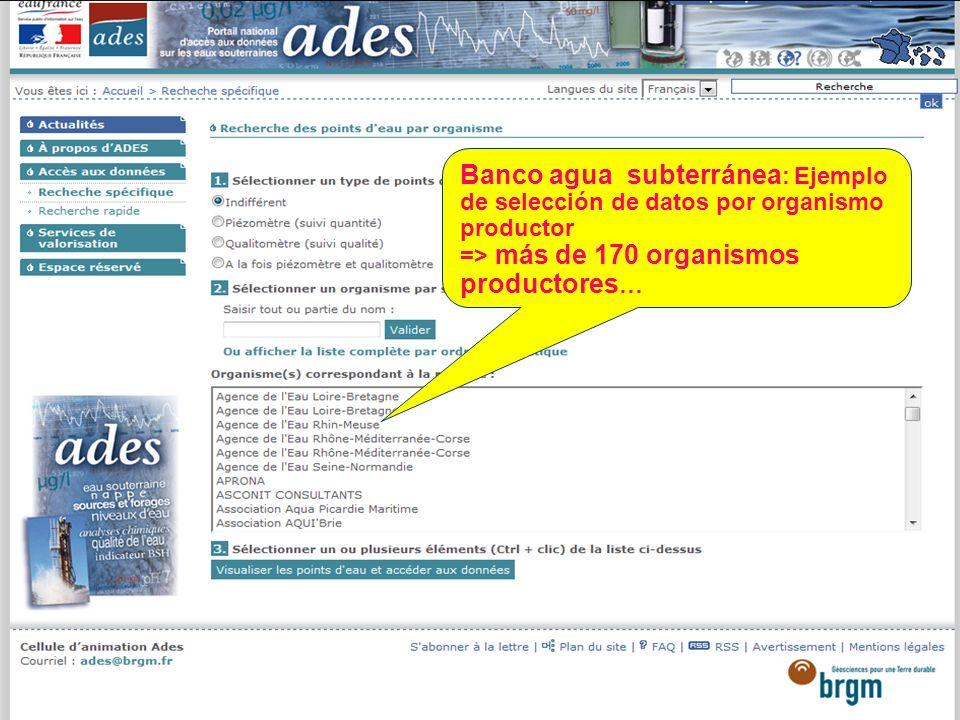 Sept. 2012 38 Banco agua subterránea : Ejemplo de selección de datos por organismo productor => más de 170 organismos productores …