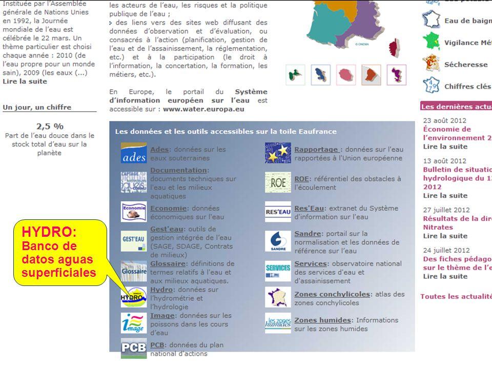 Sept. 2012 41 HYDRO: Banco de datos aguas superficiales