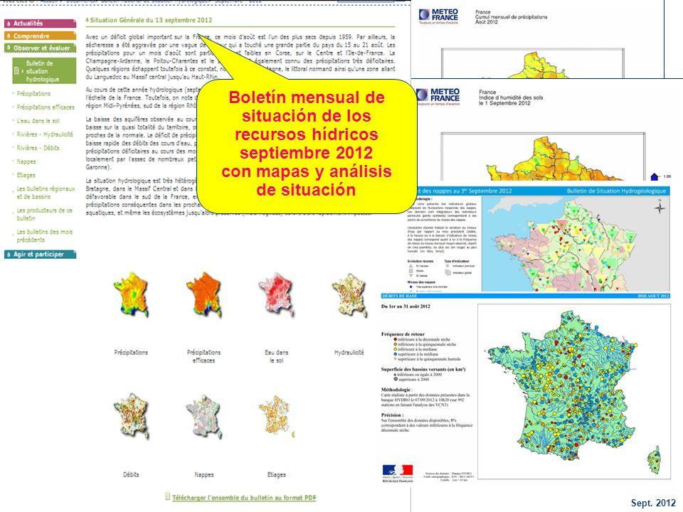 Sept. 2012 44 Boletín mensual de situación de los recursos hídricos septiembre 2012 con mapas y análisis de situación
