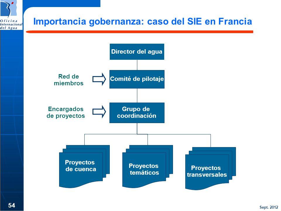 Sept. 2012 Importancia gobernanza: caso del SIE en Francia 54 Comité de pilotaje Director del agua Grupo de coordinación Red de miembros Encargados de