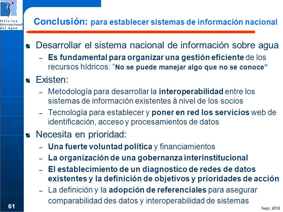 Sept. 2012 Conclusión: para establecer sistemas de información nacional Desarrollar el sistema nacional de información sobre agua – Es fundamental par
