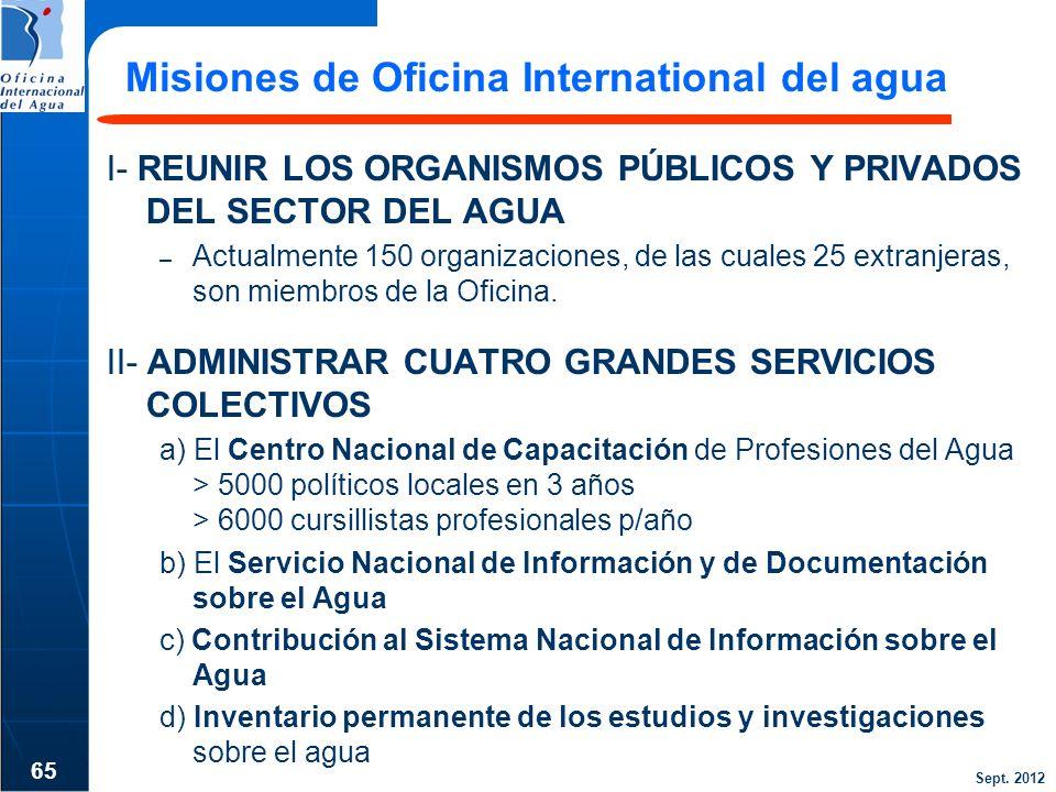 Sept. 2012 Misiones de Oficina International del agua I- REUNIR LOS ORGANISMOS PÚBLICOS Y PRIVADOS DEL SECTOR DEL AGUA – Actualmente 150 organizacione