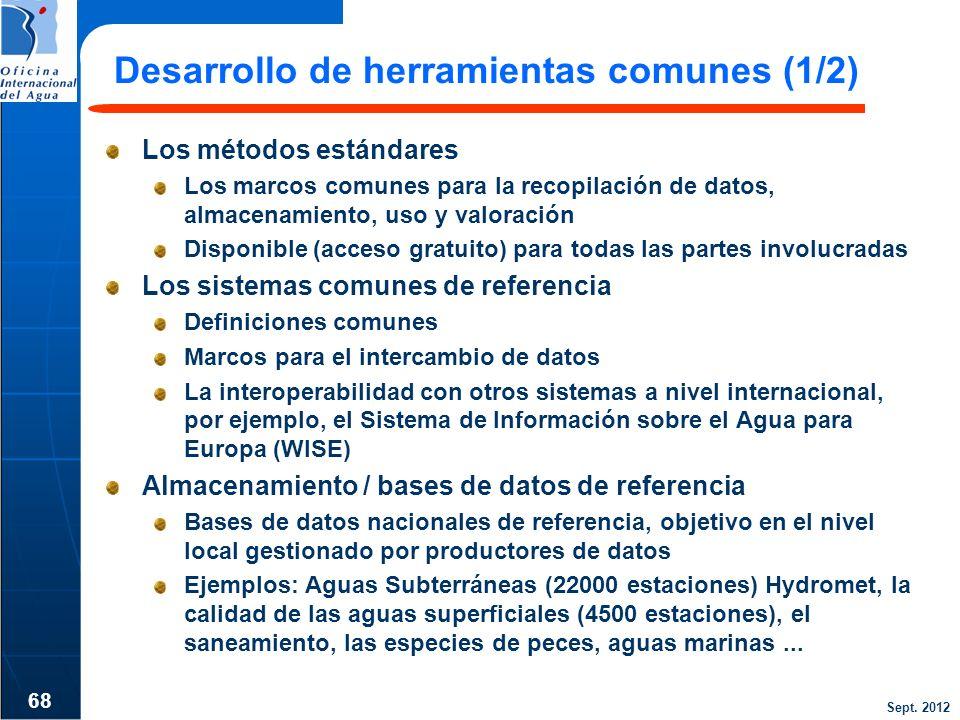 Sept. 2012 Desarrollo de herramientas comunes (1/2) Los métodos estándares Los marcos comunes para la recopilación de datos, almacenamiento, uso y val